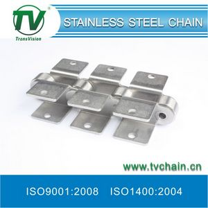Double Pitch Stainless Steel Roller Chain with Attachments